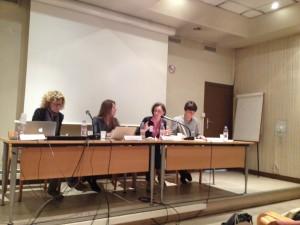 """Premier panel du colloque présidé par Céline Béraud avec Marta Roca y Escoda, Kristina Kovalskaya et Romain Carnac : """"Les autorités religieuses dans le débat public sur le genre"""""""